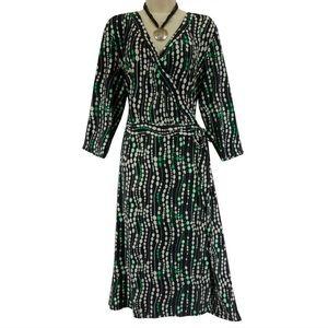 20 2X▪️BLACK/GREEN/WHITE FAUX-WRAP DRESS Plus Size